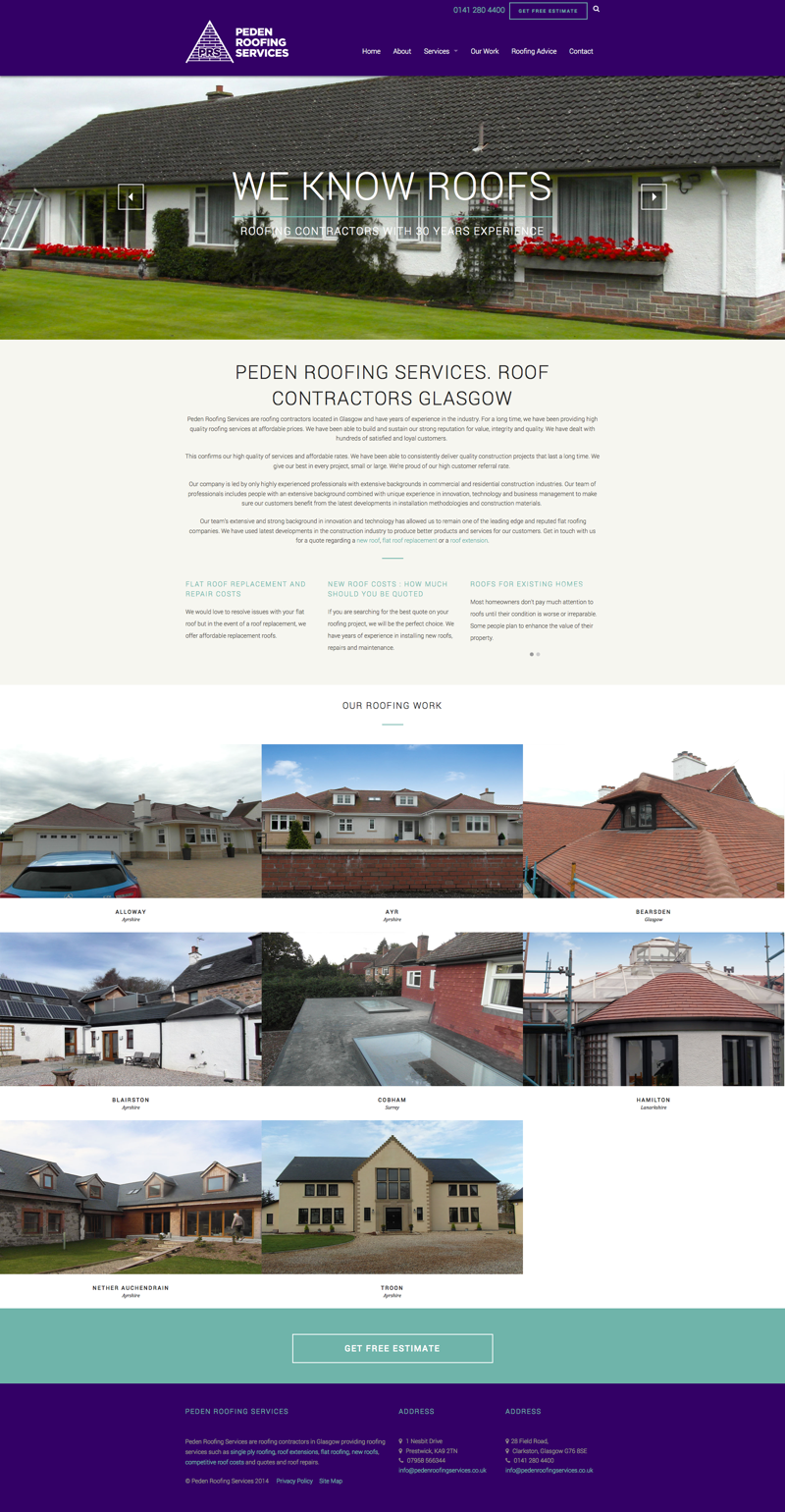roofing website design screenshot
