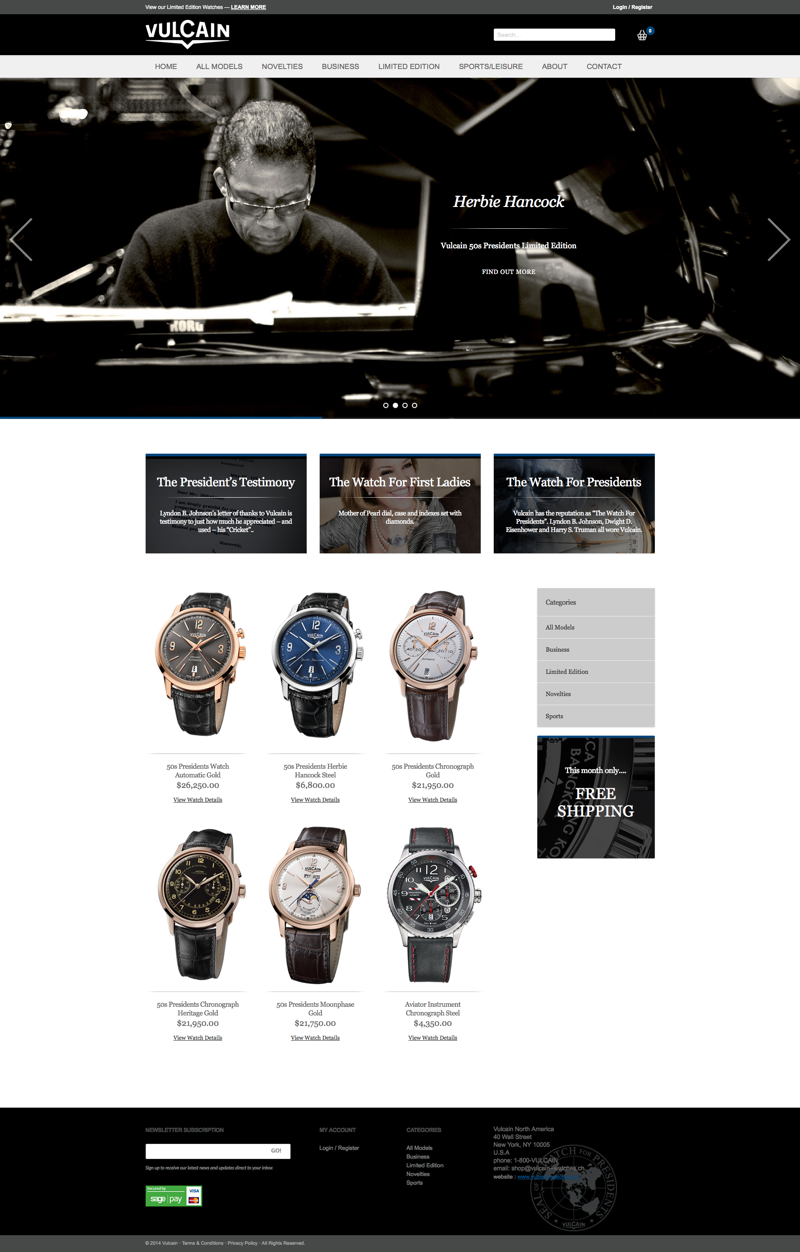 vulcain watch website design image