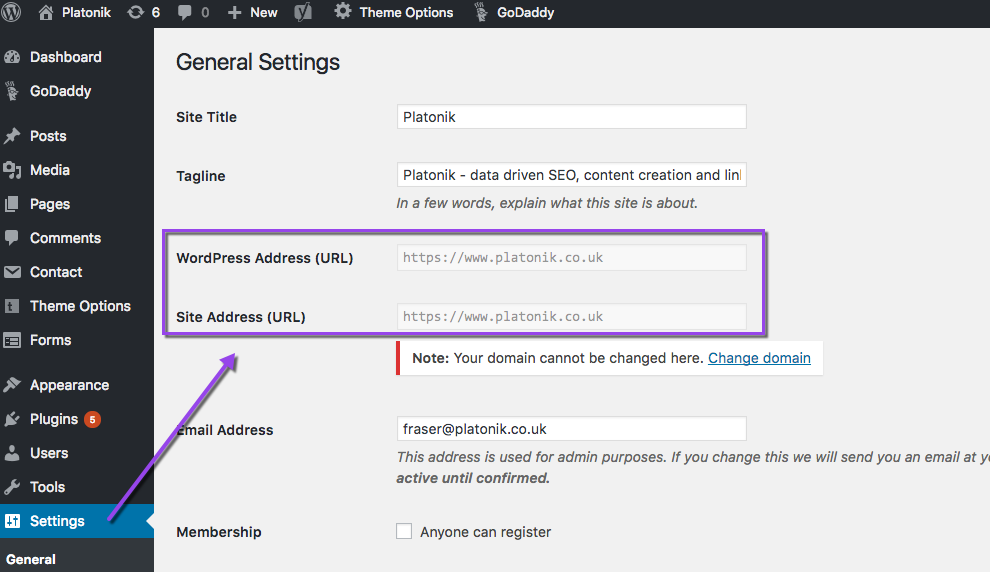 WordPress SSL url settings