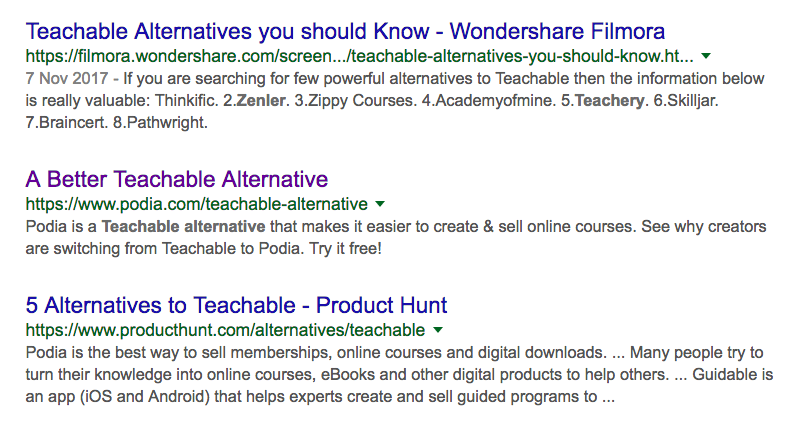 I Did A Google Search For Teachable Alternatives And Look At The Number 2 Organic Search Result