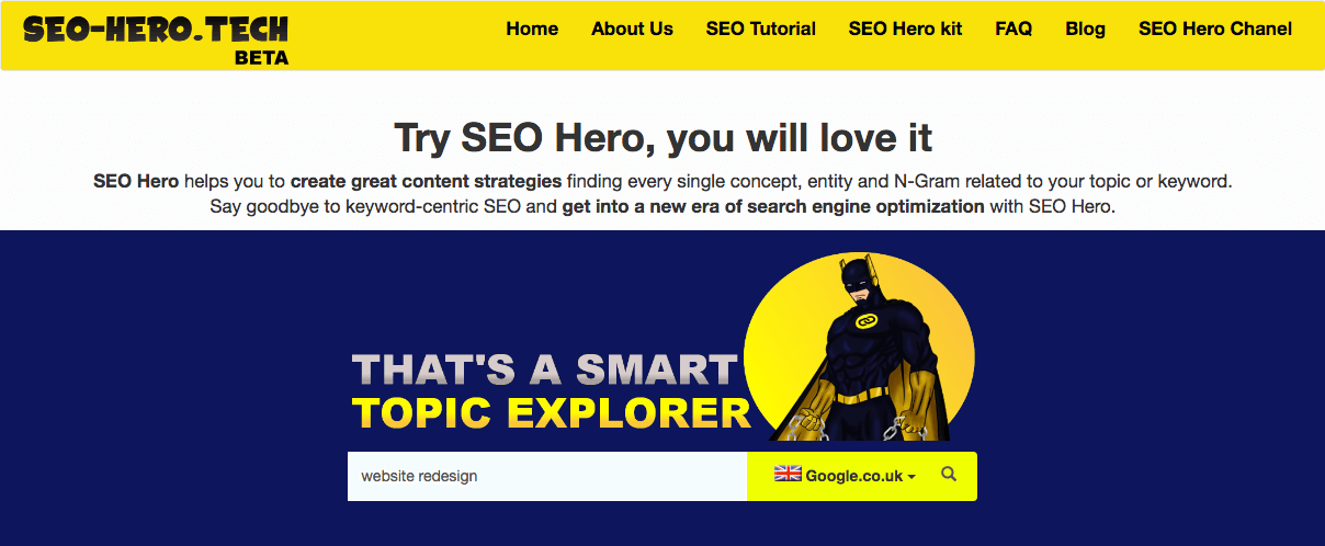 seo hero lsi keyword tool