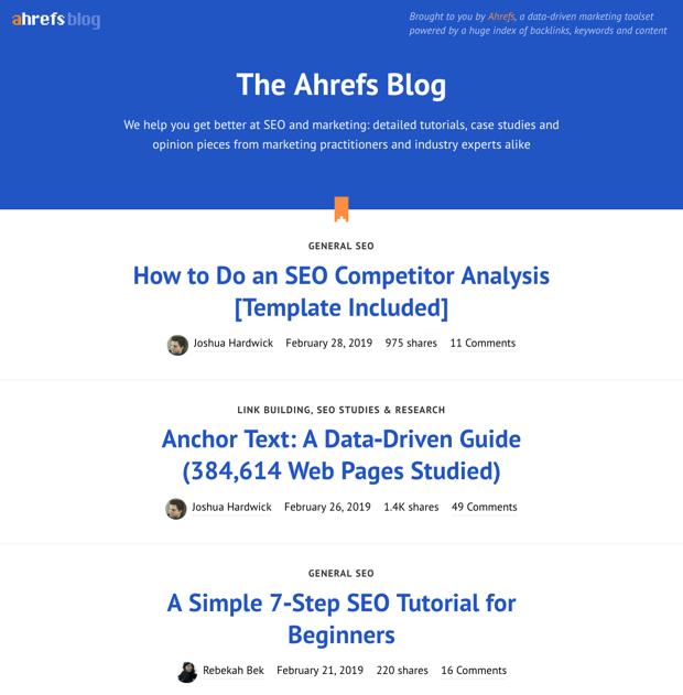 List blog layout design example image