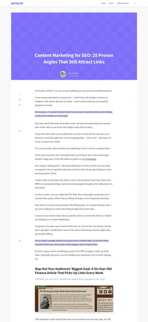 One column full width blog post design layout