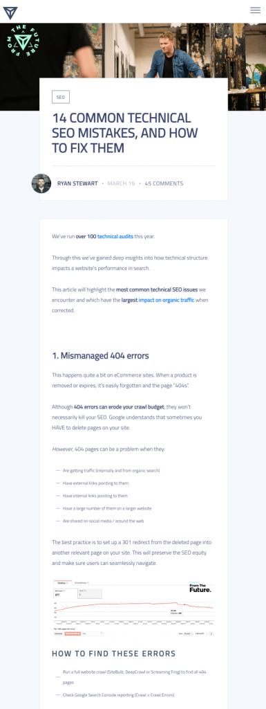 One column full width blog post design from FTF Agency