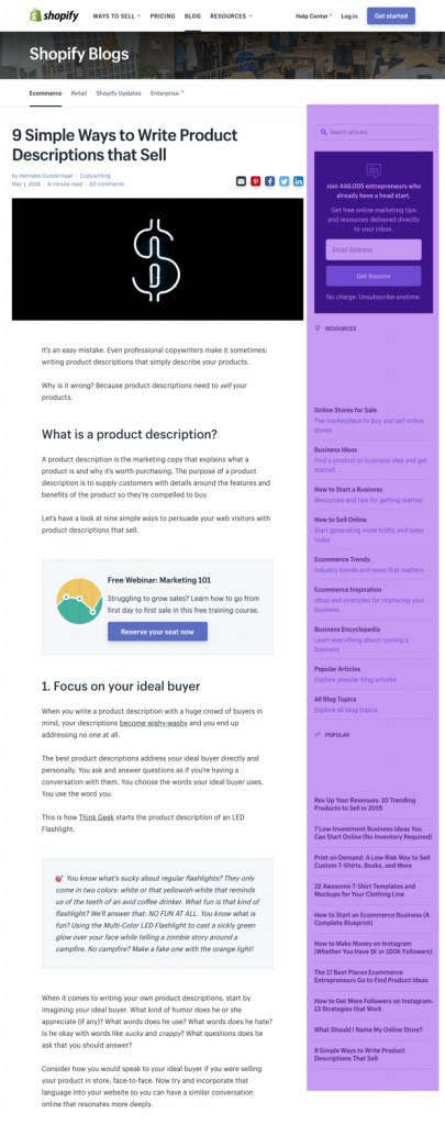 2 column right hand bar blog post design by shopify