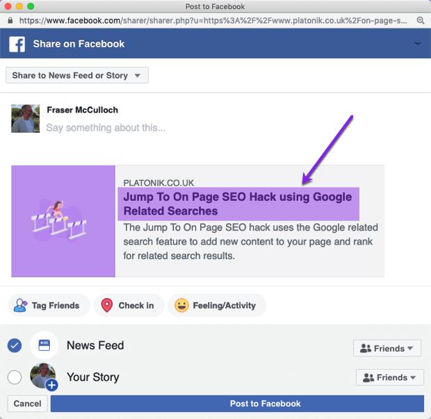 Post title shared on facebook screenshot