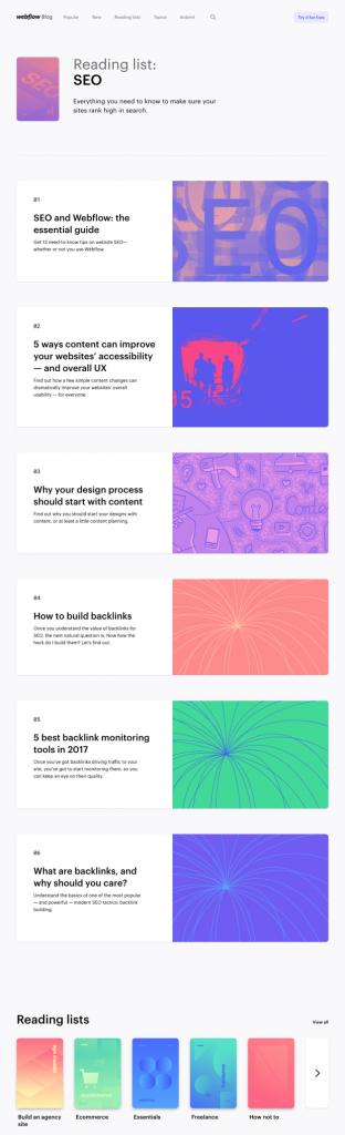 webflow blog list design example