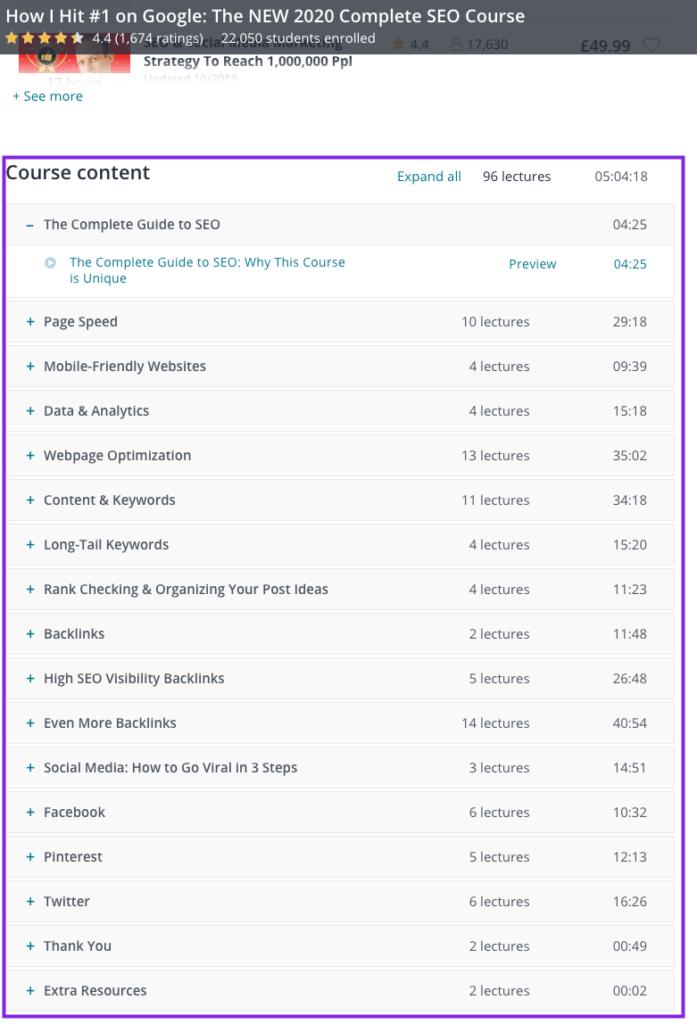online course content outline