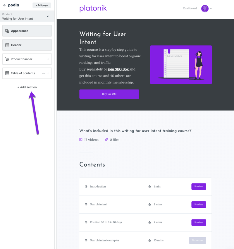 online course product page podia