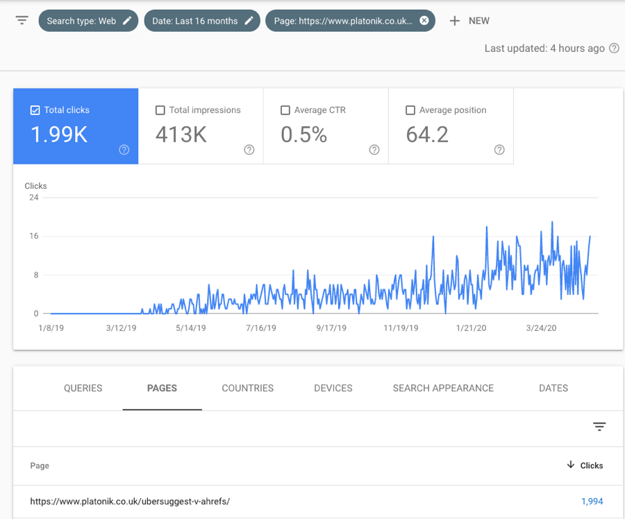 google search console last 16 months report