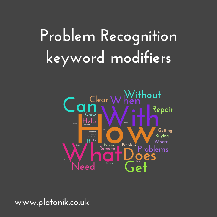 image of Problem recognition stage keyword modifiers