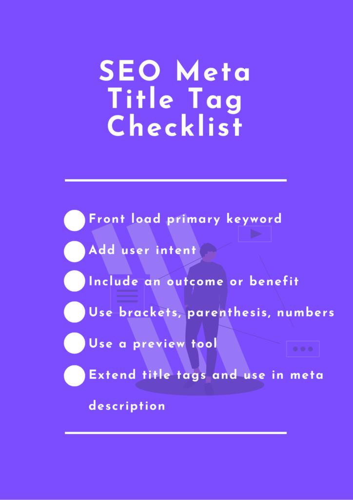 seo meta title tag checklist