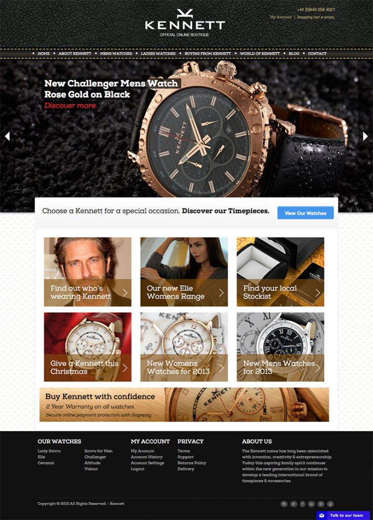 ecommerce watch website design example