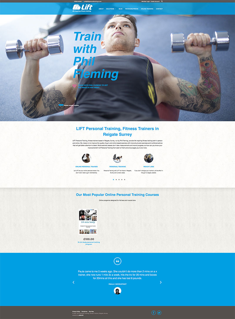 Platonik - website design personal trainer