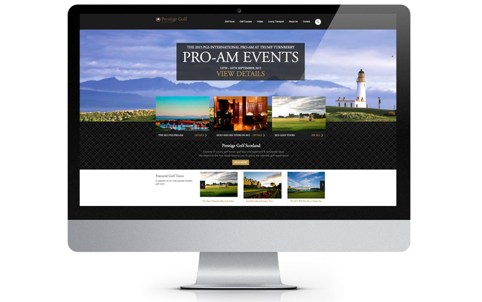 golf travel website design home page