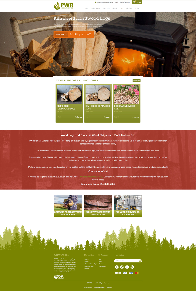 firewood website - ecommerce home page design