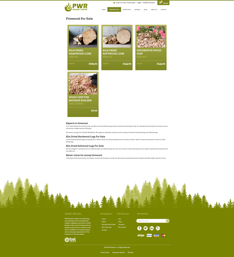 firewood website - ecommerce category page web design