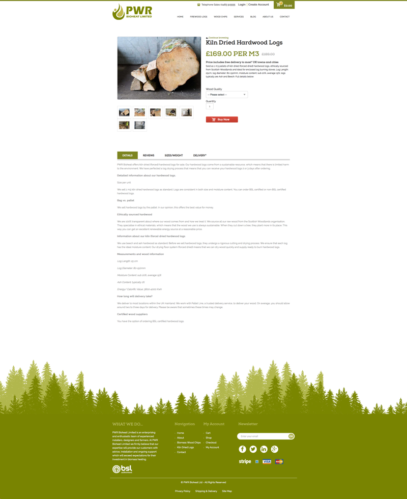 firewood - ecommerce product page web design