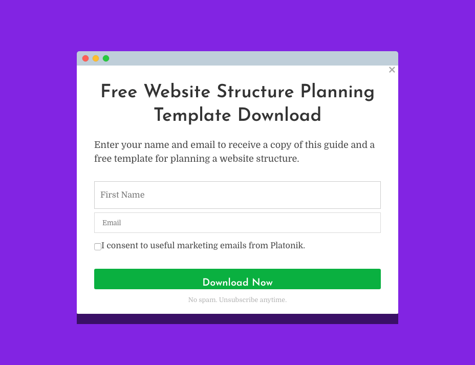 web form used in list building
