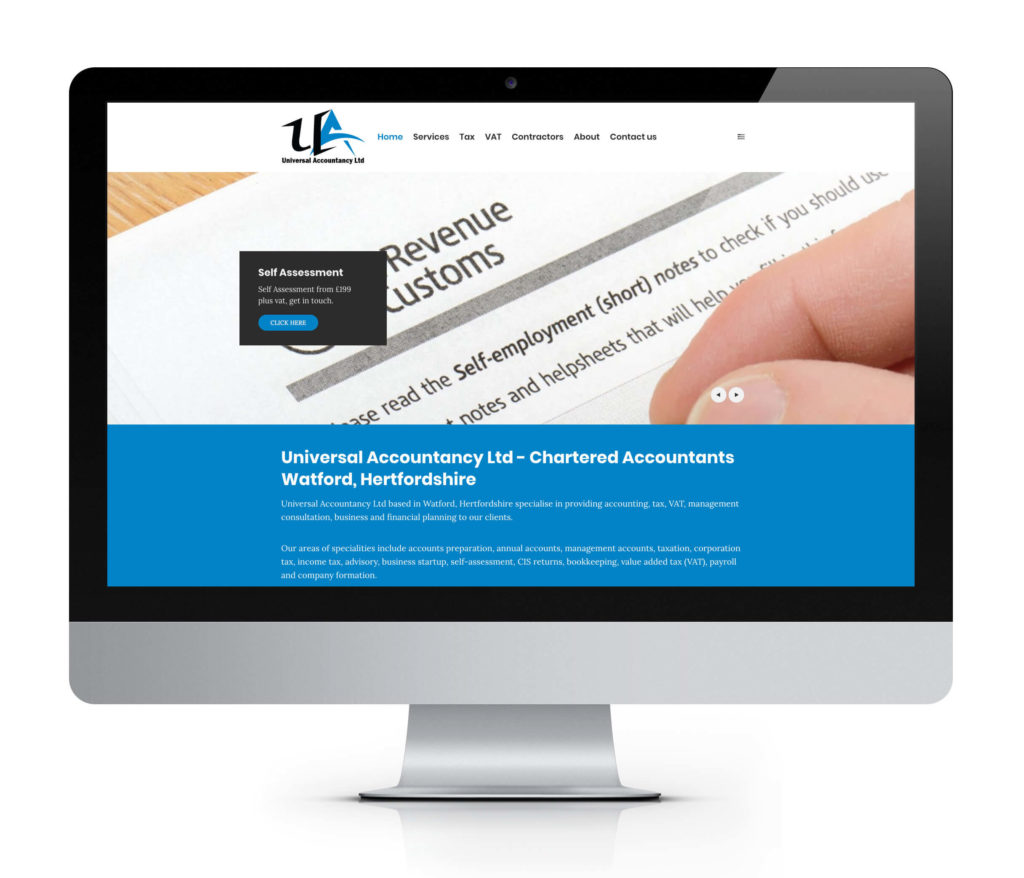 accountant in london website design image and example